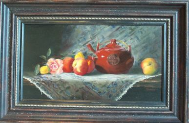 Red Tea Pot With Peaches picture